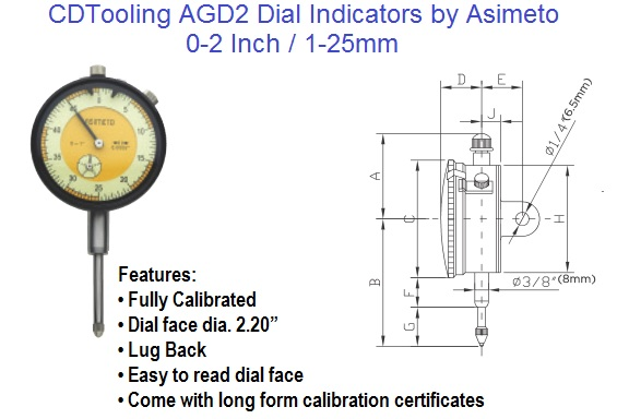 AGD2 Dial Indicators 0-2 Inch / 1-25mm