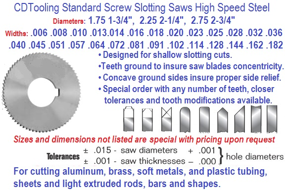Screw Slotting Saws HSS