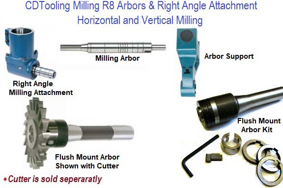 Milling Cutter Arbors with R-8 Shank