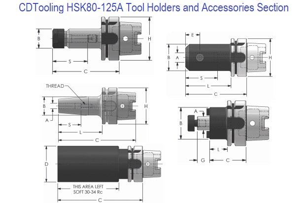 HSK 80-125A Holders and Accessories