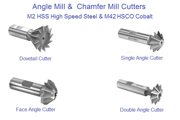 Angle Cutters Chamfer, Double, Dovelail, Single with Shank