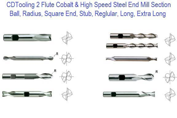 2 Two Flute End Mills HSS HSCO