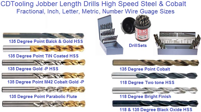 Drill bits straight shank hss hsco cd tooling jobber length drill bits hss hsco greentooth