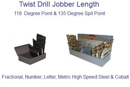 Twist Drill Bit Sets, Jobber Drill Sets, Fractional,Letter,Number,Metric