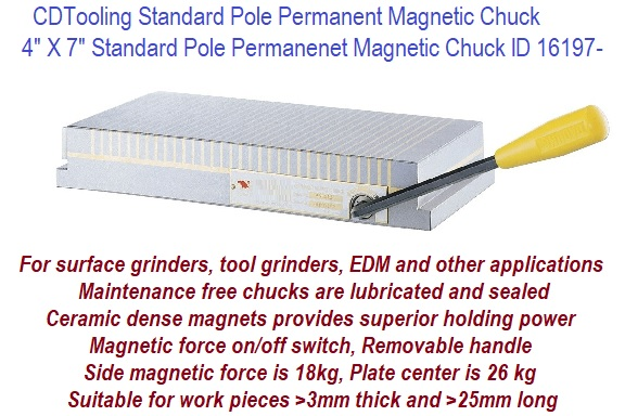 "NEW 4/""X7/"" PERMANENT MAGNETIC CHUCKS //FINE POLE"