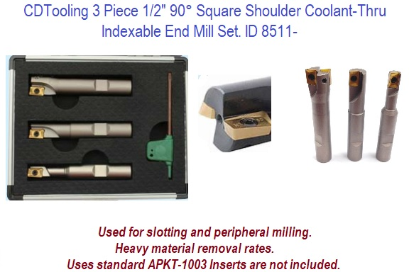 HHIP 5822-1710 3 Piece 1//2 Square Shoulder Coolant-Thru Indexable End Mill Set