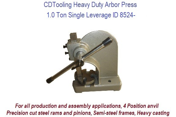 1.0 Ton Single Leverage Arbor Press Heavy Duty ID 8524-RK801-