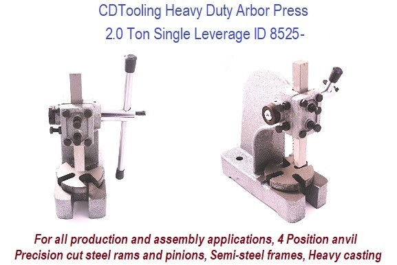 2.0 Ton Single Leverage Arbor Press Heavy Duty ID 8525-RK802