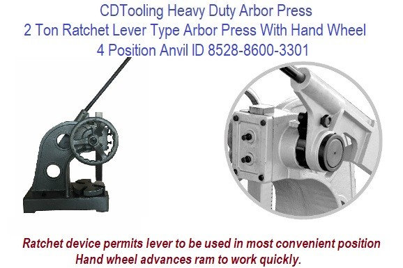 2 Ton Ratchet Lever Type Arbor Press With Hand Wheel 4 Position Anvil ID 8528-8600-3301