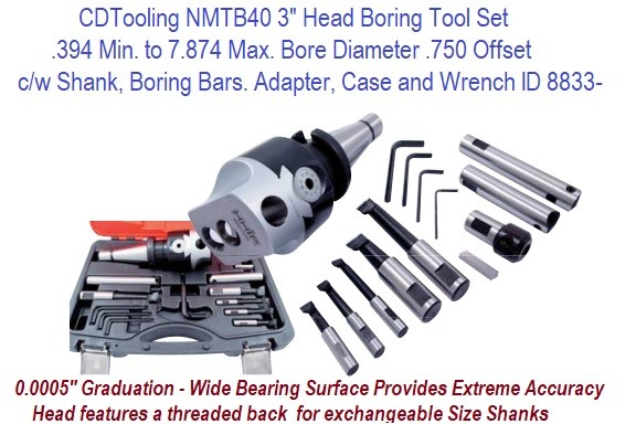 NMTB40 3 Inch Head Boring Tool Set .394 Min. to 7.874 Max. Bore Diameter .750 Offset c/w Shank, Boring Bars. Adapter, Case and Wrench ID 8833-