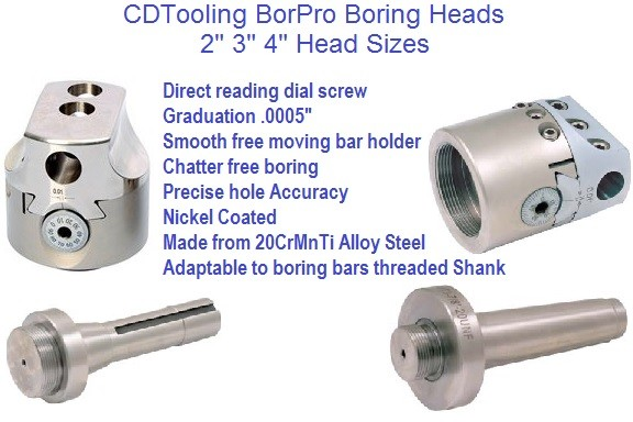 Boring Head BorPro Sizes 2, 3, 4, Inch .0005 Graduation 2611-1001