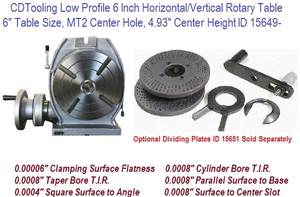 6 Inch Horizontal Vertical Rotary Table MT2 Center Hole ID 15649-