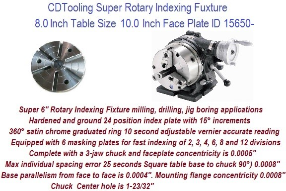 Super Rotary Indexing Fixture 8 Inch Table Size 10 Inch Face Plate ID 15650-
