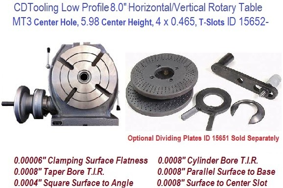 8 Inch Horizontal Vertical Rotary Table MT3 Center Hole ID 15652-