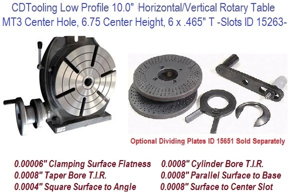 10 Inch Horizontal Vertical Rotary Table MT3 Center Hole ID 15653-