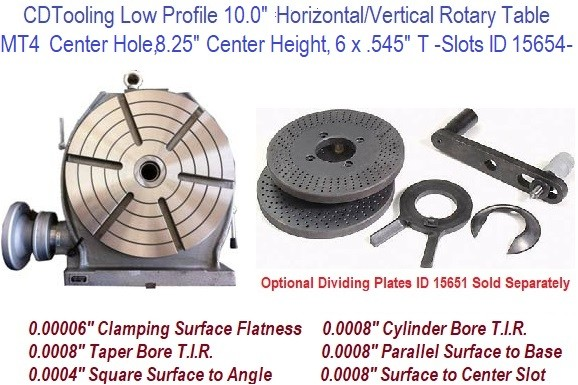12 Inch Horizontal Vertical Rotary Table MT4 Center Hole ID 15654-