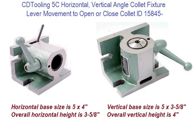 5C Horizontal, Vertical Angle Collet Fixture Lever movement to open or close collet ID 15845-