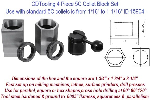 4 Piece 5C Collet Block Set Capacity for standard 5C collets is from 1/16 to 1-1/16 Inch ID 15904-