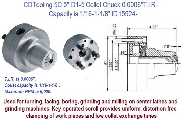 """5C Round Emergency Collet 1//16/"""" Nylon Tooling For Lathes /& Fixtures CNC"""
