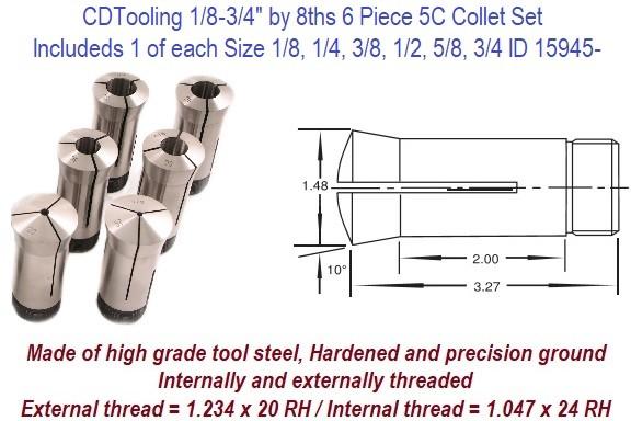 "15 Pc 1//8/"" ~ 1/"" x 16ths High Precision 5C Collet Set .0005/"" TIR Certificate #"