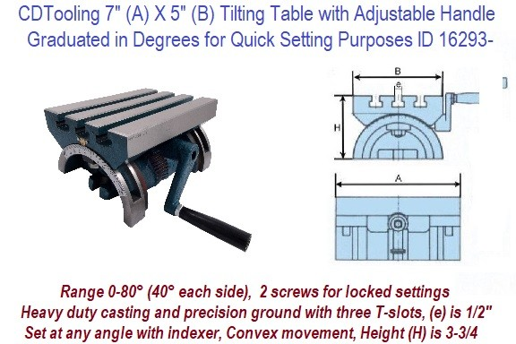7 x 5 Inch Tilting Table with Complete with a crank handle ID 12693-