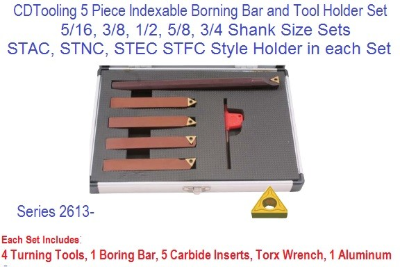 5 PC Indexable Boring Bar, Tool Holder Sets,5/16,3/8,1/2,5/8,3/4, TCMT Carbide Insert 2613-