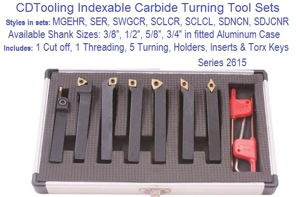 7 Piece Cut Off, Threading, Turning, Tool Holder Sets 3/8 1/2 5/8 3/4 Shank Sizes Series ID 2615-