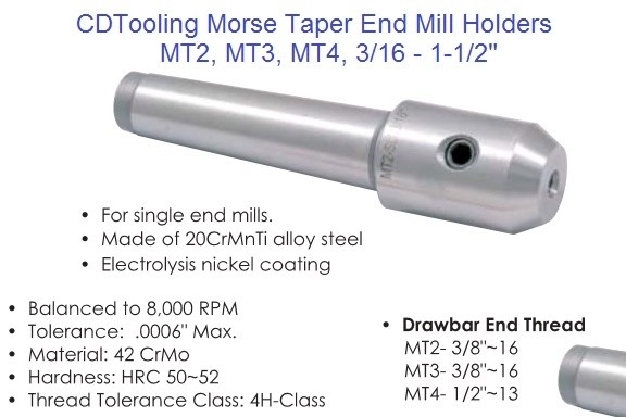 Morse Taper End Mill Holders MT2, MT3, MT4, 3/16-1-1/2 inch
