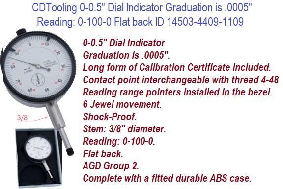 ".0005/"" Graduation Federal IDS-183 Dial Indicator with Lug Back 0-.075/"" Range"