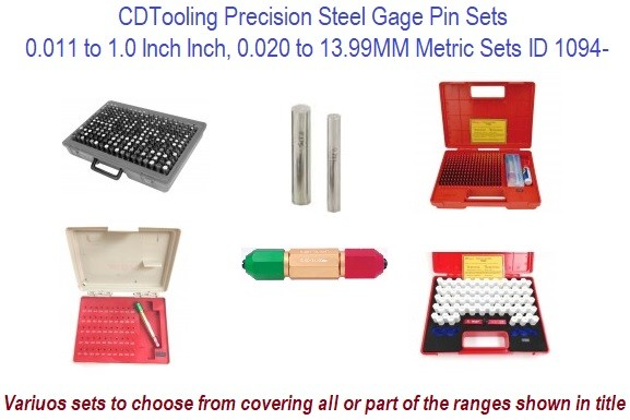 High Precision Pin Gage Sets Inch and Metric Size Ranges ID 1094-