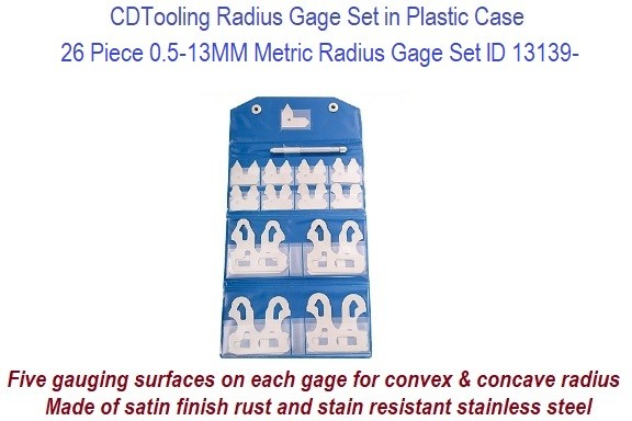 Precision Radius Gage Metric Set 26 Piece 0.5mm - 13.0mm ID 13139-