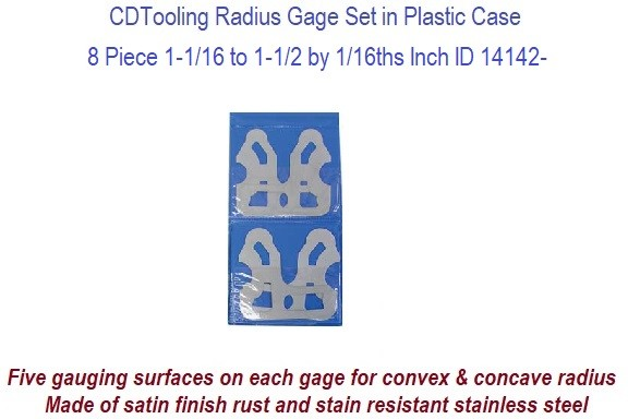Precision Radius Gage Set 8 Piece 1-1/16 to 1-1/2 by 1/16ths Inch ID 14142-