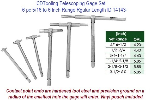 Telescoping Gage Set 6 Piece 5/16 to 6 Inch Standard Length ID 14143-