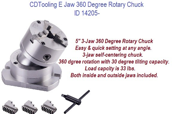 3 Jaw, 5 Inch,  360 Degree, Rotary Chuck 30 Degree Tilting Capacity, Quick Easy Setting any Angle ID 14205-