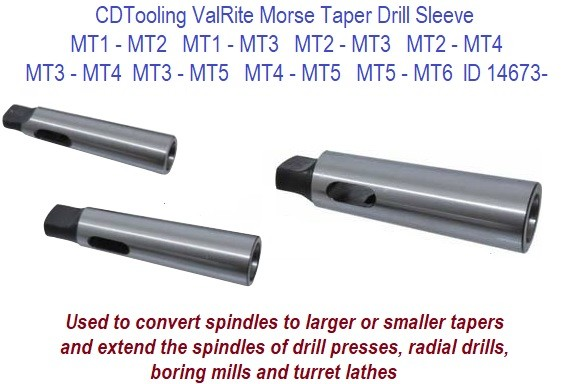 Morse Taper Extension Sleeve MT2 Outside to MT3 Inside//Fully Hardened