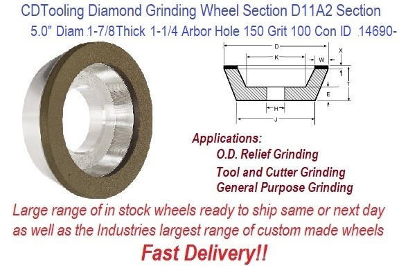 D11A2 5 Inch Diameter 01.75 Thick 1.25 Arbor Hole 0.125 Depth 150 Grit 100 Concentration ValRite Diamond Flaring Cup Grinding Wheel ID 14690-