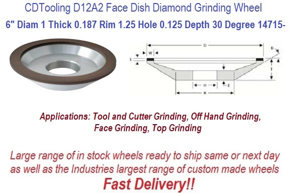 D12A2 6 Inch Dia 1 Thick 1.25 Arbor 0.125 Depth 150 Grit 100 Con ValRite Diamond 30 Degree Dish Grinding Wheel ID 14715-