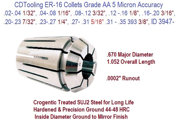 ER-16 Collets Grade AA 5 Micron / .0002 Inch Runout Accuracy .02 1/32 to .393 10mm Size Range ID 3947-