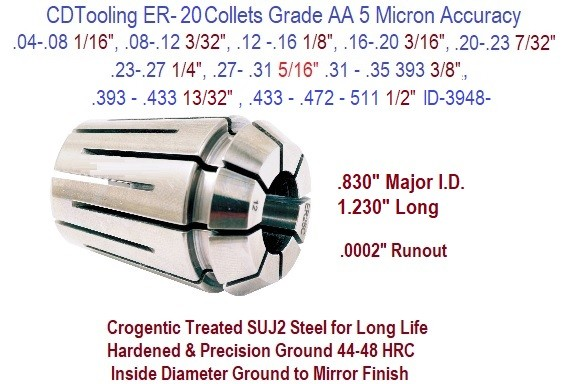 ER-20 Collets Grade AA 5 Micron / .0002 Inch Runout Accuracy .04 1/16 to .511 1/2 Inch Size Range ID 3948-
