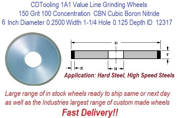 1A1 6 Inch Diameter 0.2500 Width 1-1/4 Arbor Hole .125 Depth 150 Grit 100 Concentration Value Line CBN Grinding Wheel ID 12317-