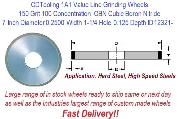 1A1 7 Inch Diameter 0.2500 Width 1-1/4 Arbor Hole 0.125 Depth 150 Grit 100 Concentration Value Line CBN Grinding Wheel ID 12321-
