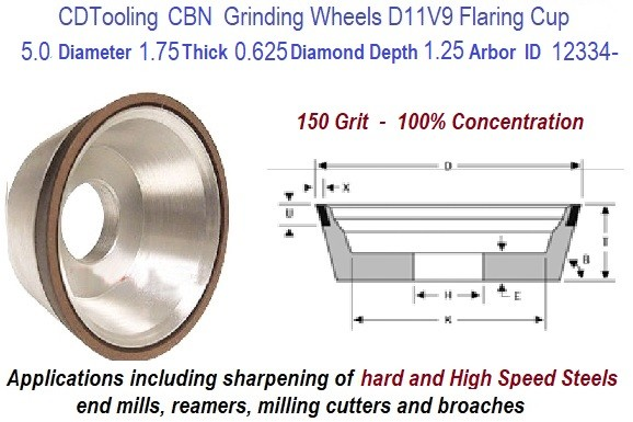 D11V9 5.0 Inch Diameter 1.75 Thickness 1.250 Arbor Hole 0.0625 Depth 150 Grit 100 Concentration Value Line Diamond Grinding Wheel ID 12334-