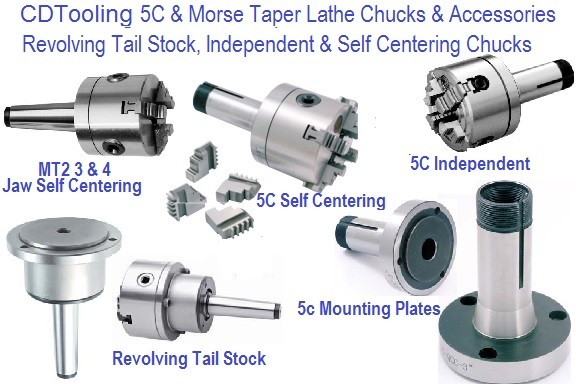 Lathe Chuck 3 and 4 Inch 5C and MT Mount, Revolving Head Tail Stock ID 1294-