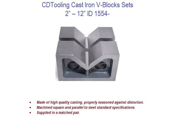 2 to 12 inch - V-Block Cast Iron Machined Pairs ID 1554-