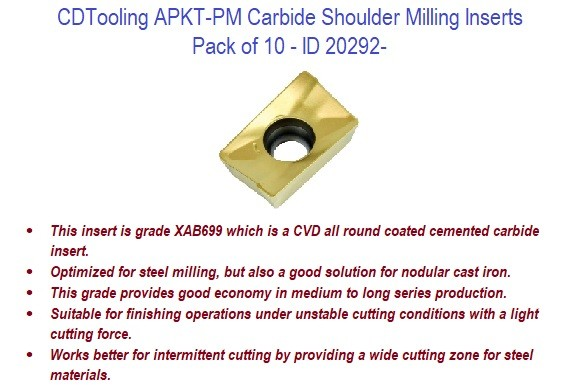 APKT-PM - Carbide Shoulder Milling Inserts - 10 Pack ID 20292-