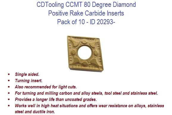 CCMT 80 Degree Diamond - Positive Rake Carbide Inserts - 10 Pack ID 20293-