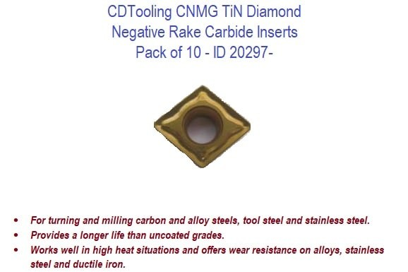 CNMG TiN Diamond - Negative Rake Carbide Inserts - 10 Pack ID 20297-