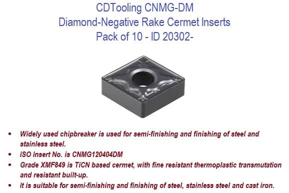 CNMG-DM Diamond-Negative Rake Cermet Inserts - 10 Pack ID 20302-