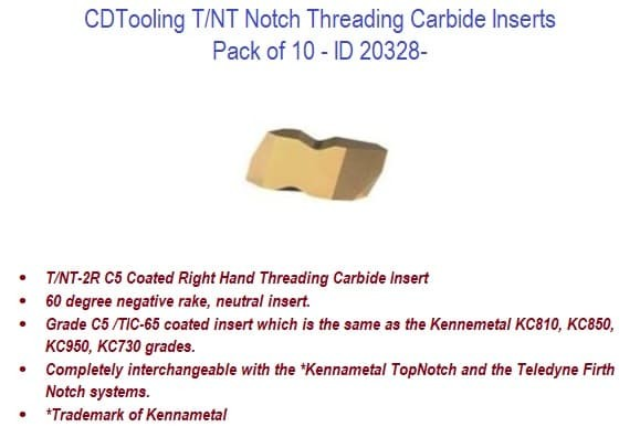 T-NT Notch Threading Carbide Inserts ID 20328-