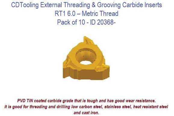RT1 6.0 External Threading and Grooving Carbide Inserts - Metric Thread 10 Pack ID 20368-